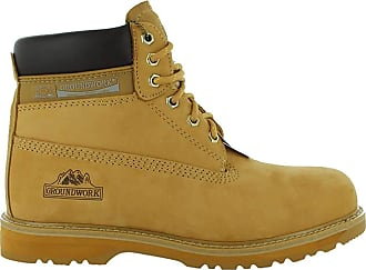 Groundwork New Mens Groundwork Lace Up Steel Toe Safety Ankle Boots Size UK 7 8 9 10 11, Honey UK Size 11