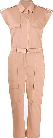 Yves Salomon short sleeved belted jumpsuit - PINK
