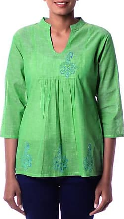 Novica Cotton tunic, Lapis Paisley