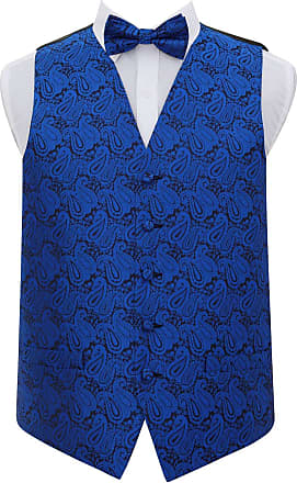 DQT Men Paisley Floral Waistcoat Bow Tie Hanky and Cufflinks Royal Blue 40