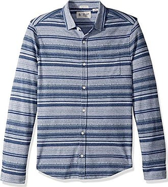 beadda99 Original Penguin Mens Long Sleeve Knitted Fairisle Shirt, China Blue, Small