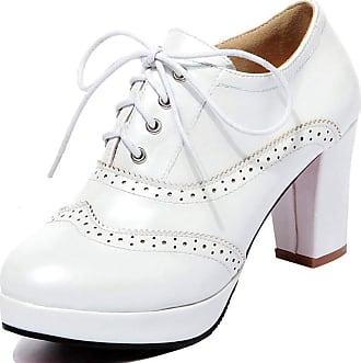 Vimisaoi Womens Classic Platform Oxfords Brogues Chunky Block High Heels Pumps Shoes Gift