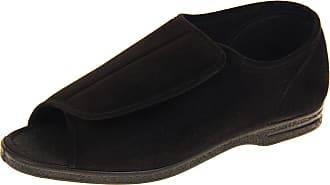 Footwear Studio Coolers Mens Black Touch Fastening Eee Wide Fit Ortho Slippers UK 12