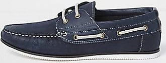 River Island Mens Navy leather boat shoes