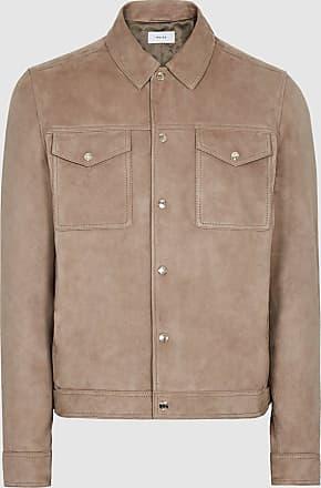 Reiss Jagger - Suede Trucker Jacket in Sawdust, Mens, Size XXL