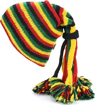 Loud Elephant Wool Knit Fountain Tassels Beanie Hat with Fleece Lining - Rasta