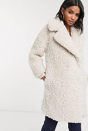 Topshop borg coat in cream