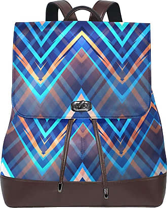 Ahomy Womens Anti-Theft Backpack Purse Zig Zag Lines Chevron Colorful PU Leather Zipper Rucksack Fashion Casual Shoulder Bag