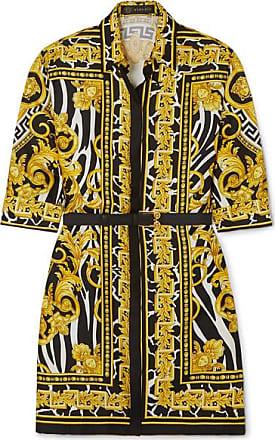 a06cc3eb5e Versace Mini-robe En Serge De Soie Imprimée À Ceinture - Jaune