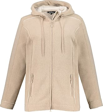 Ulla Popken Womens Plus Size Raw Edges Hooded Fleece Jacket Sand 36/38 718997 24-62+