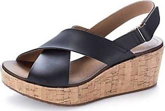 Clarks Stasha Hale Leather Wedge Shoe with Loop Fastening - Black - 4 D UK