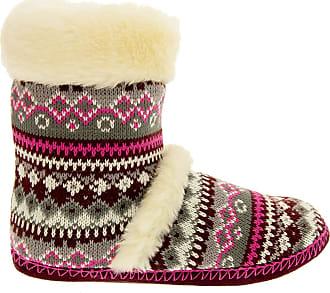 Footwear Studio Womens DUNLOP Boot Slippers Ladies Knitted Alpine Faux Fur Slipper Fuchsia Pink Sz Size 3 4