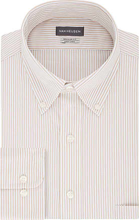 Van Heusen Mens Pinpoint Regular Fit Stripe Button Down Collar Dress Shirt, Birch, 18 Neck 34-35 Sleeve