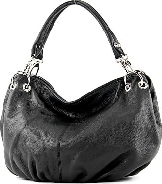 modamoda.de Italian handbag womens bag shoulder bag leather bag nappa leather IT40, Colour:Black leather