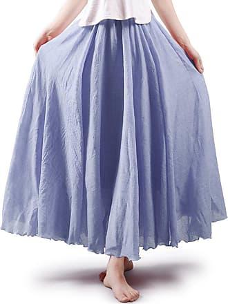 OCHENTA Aeslech Womens Bohemian Style Elastic Waist Band Cotton Linen Floor Length Maxi Skirt Ink Blue 105cm