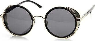 1301a5f4794 zeroUV zeroUV - Studio Cover Metal Frame Side Shield Round Sunglasses (Black -Gold)