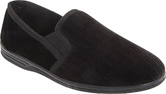 Zedzzz Mens Richard Striped Twin Gusset Velour Slippers (10 UK) (Black)