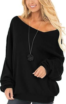 FNKDOR Women Casual Long Sleeved Round Neck Sexy Off Shoulder Loose Sweatshirt Jumper Tops(Black,2XL)