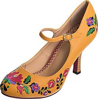 Dancing Days Damen Schuhe Kalocsai Punkte Vintage Pumps Geschlossen (40 EU,  Orangegelb mit Gestickten c980552117