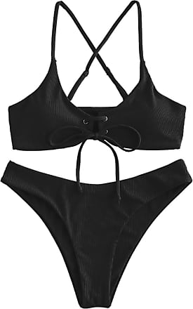 ZAFUL Womens Leopard Print Underwire High Cut Triangle Bikini Set Swimsuit