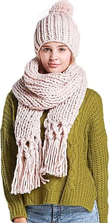 Laisla Fashion Ladies Warm Winter Scarf and Cap Long Classic Set Tassel Scarf Knitted Bobble Hat Knitted Vintage Style Basic Clothing Accessories (Color : Beige, One