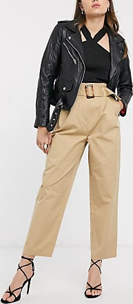 Object cropped trousers with belted waist in camel-Beige