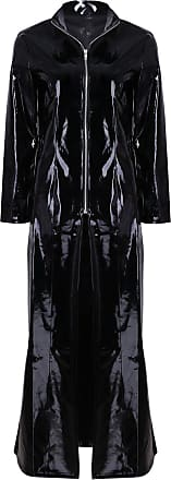TiaoBug Men Women PVC Leather Clubwear Wetlook Long Sleeve Coat Partywear for Party Club Black X-Large