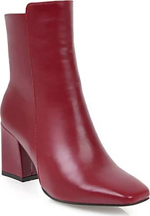 Generic Women Short Boots Square Heel Round Toe Solid Color Zip Casual Shoes Ladies Waterproof Anti Slip Platform Leather Ankle Boot Red