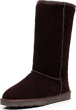 Jamron Womens Classic Below Knee Thermal Suede Half Snow Boots Thick Faux Fur Lined Winter Boots Coffee S1015 UK3.5