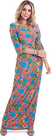 Manola Vestido Longo Marry Floral Pink Com Azul