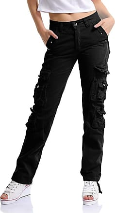 OCHENTA Womens Combat Casual Cargo Eight Pocket Army Military Trousers Black Lable 29-UK 6