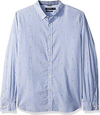 Nautica Mens Big and Tall Ls Wrinkle Resistant Stretch Poplin Print Button Down Shirt