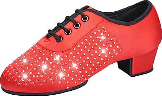 Insun Girls Lace-up Latin Salsa Tango Ballroom Dance Shoes Red Satin 10.5 UK Child