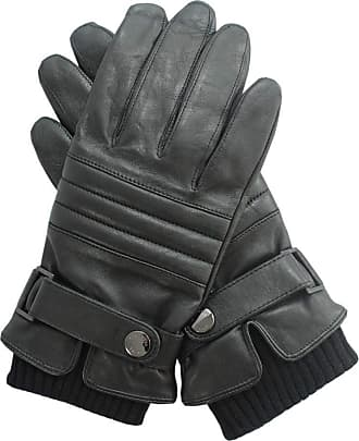 BOSS Hugo Boss Mens Leather Gloves with Lining Hetlon TT Black Size 9