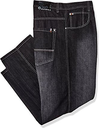 Southpole Mens Big and Tall Relaxed Fit Basic Sand Blasted Core Denim, Black (New), 48