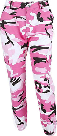 junkai Women Camouflage Pants - Ladies Loose Leisure Multi-Pocket Jeans Military Army Camouflage Sports Jogging Trousers Pink M