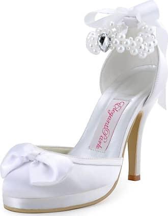 Elegantpark EP11074-PF White Womens Pearls Platform Stiletto high Heel Ribbons Bows Satin Wedding Shoes UK 6(EU 39)