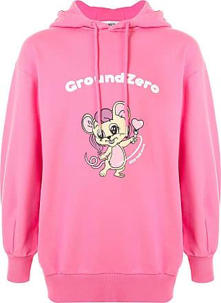 Ground-Zero logo cartoon print hoodie - Rosa