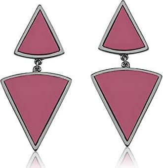 Vivid Brinco Vivid Pendente Dois Triângulos Rosa Folheado a Rodio Negro