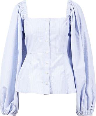 Ganni Off-Shoulder Bluse gestreift Blau
