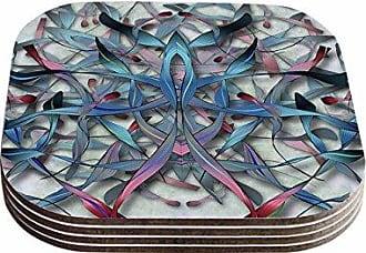 KESS InHouse Angelo CerantolaWax And Wayne Blue Digital Coasters (Set of 4), 4 x 4, Multicolor