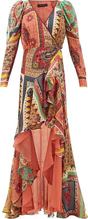 Etro Dahlia Ruffled-skirt Printed-voile Maxi Dress - Womens - Red Multi