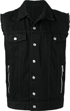 Balmain Colete jeans com bordado - Preto