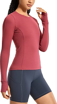 CRZ YOGA Womens Long Sleeve Running Shirt Athletic Workout Top with Thumb Holes Red Earth 12