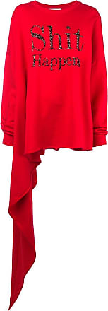Christopher Kane Blusa de moletom com bordado Shit Happens - Vermelho