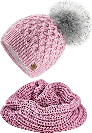 4sold Ladies Womens Beanie Warm Winter Bobble Faux Fur Pom Pom Wooly Full Liner Cossy - Set Model 2 Pink 09