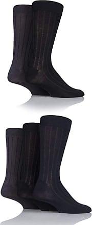 SockShop Mens 5 Pair SockShop Plain Bamboo Socks (7-11 Mens, Ribbed Black Navy Grey)