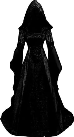 Yvelands Medieval Dresses Women, Vintage 1940S Long Flare Sleeve Gothic Witch Dress Hooded Evening Fancy Cosplay Costume Dresses for Ladies Sale Black