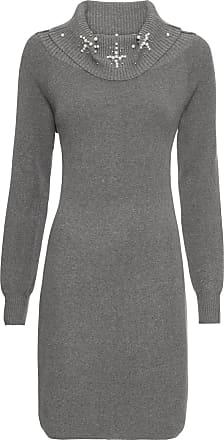 07f205a2f9cf Bodyflirt Dam Stickad klänning med applikation i grå lång ärm - BODYFLIRT