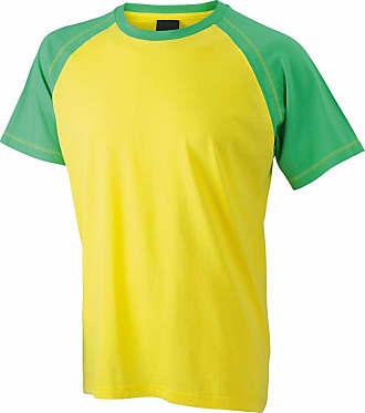 James & Nicholson JN010 Mens Raglan Sleeve T Shirt Yellow/Frog Size L